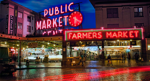 Pike Place Market at Seattle in Washington