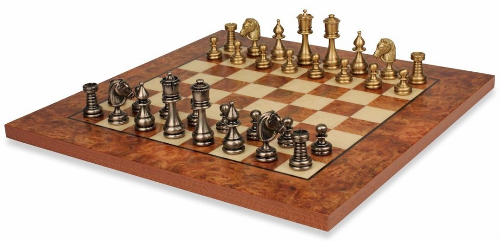 Classic Persian Brass Chess Set With Elm Root Board