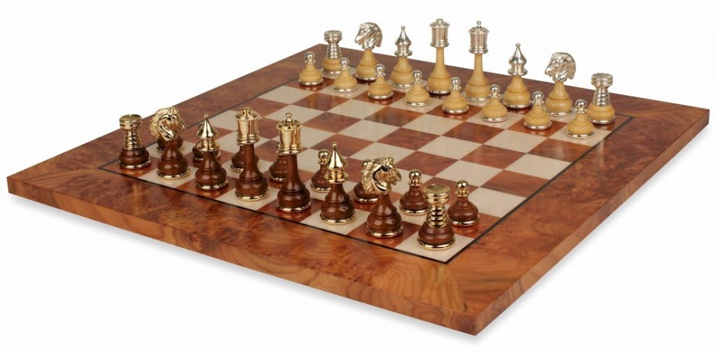 Classic Persian Staunton Gold, Silver, & Wood Chess Set with Elm Root Board