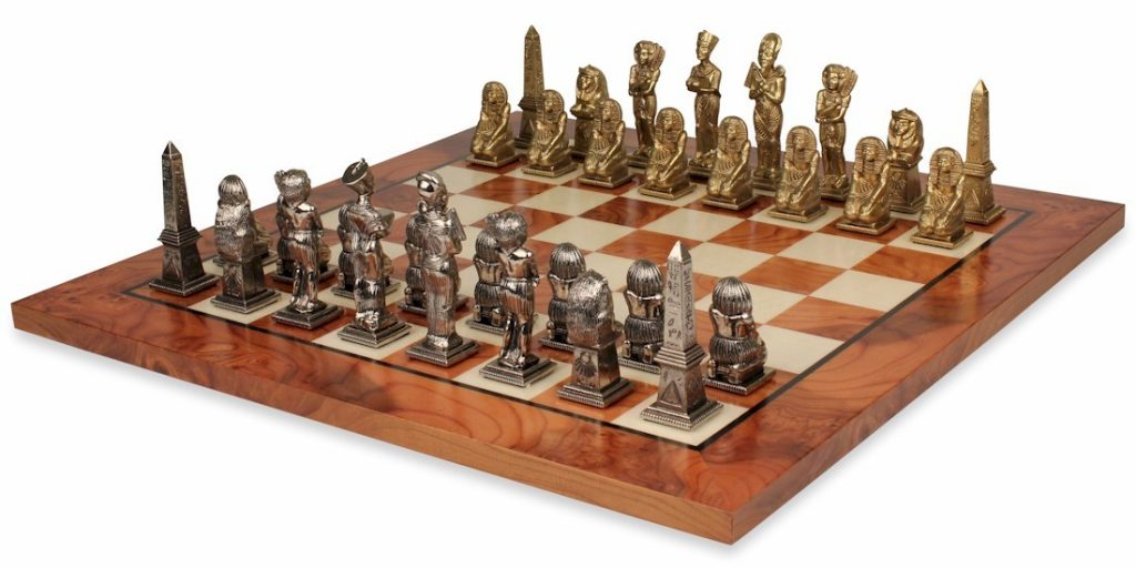Egyptian Theme Chess Set Brass & Nickel Pieces with Elm Burl Chess Board
