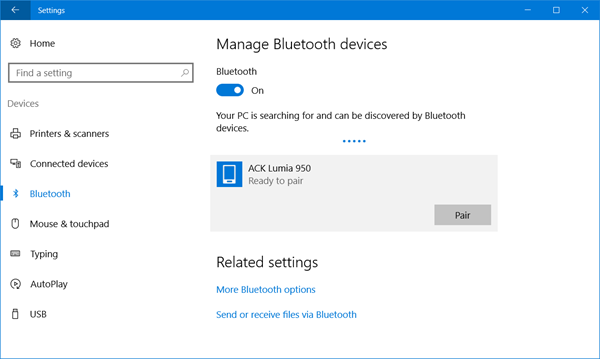 bluetooth in windows 10