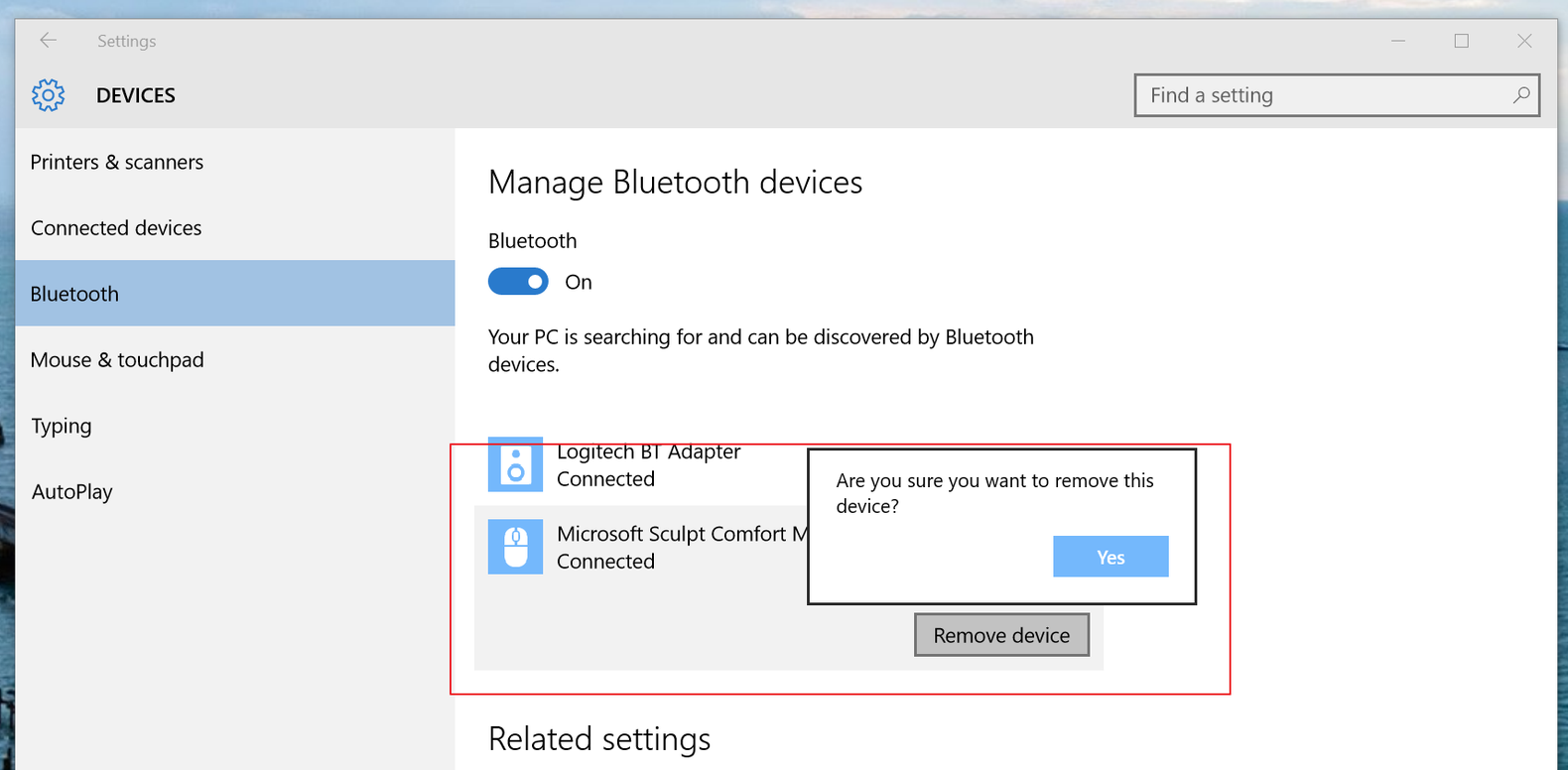 remove bluetooth windows 10